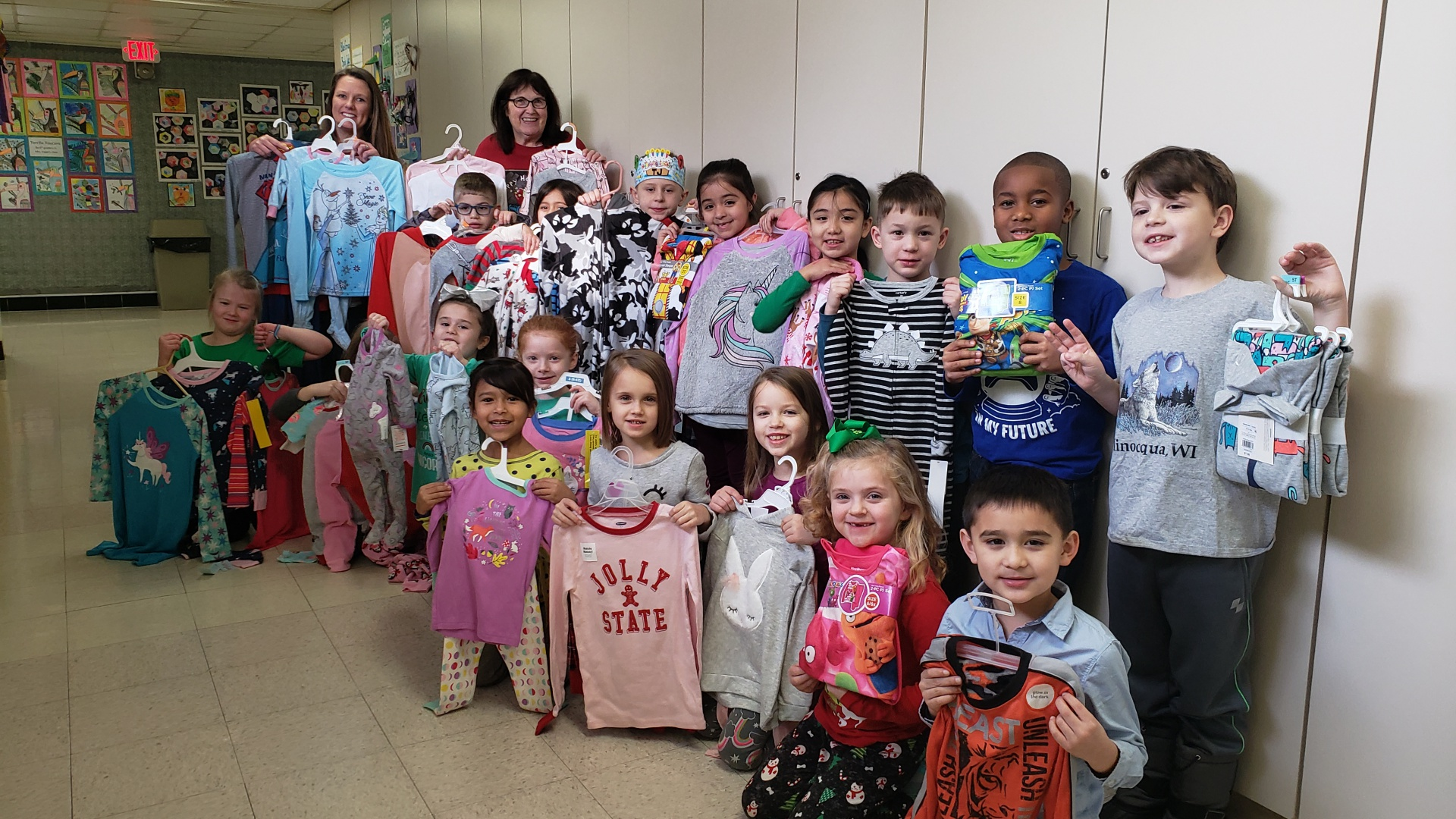 1st Grade Students Donate 56 Pajama Sets to the Great Bedtime Story Pajama Drive